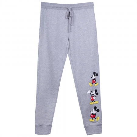 Mickey Mouse Leg Logo Ladies Grey Sweatpants