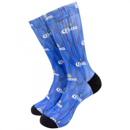Corona Men's Blue Repeating Crown Logo Crew Socks