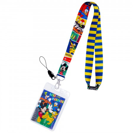 Mickey And The Gang Striped Disney Keychain Lanyard
