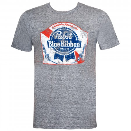 Pabst Blue Ribbon Men's Grey Classic Logo T-Shirt