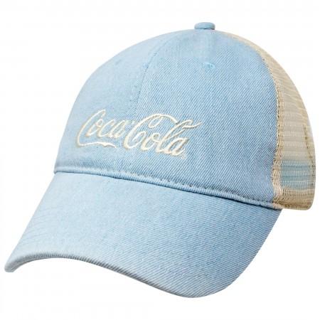 Coca-Cola Distressed Baby Blue Mesh Trucker Hat