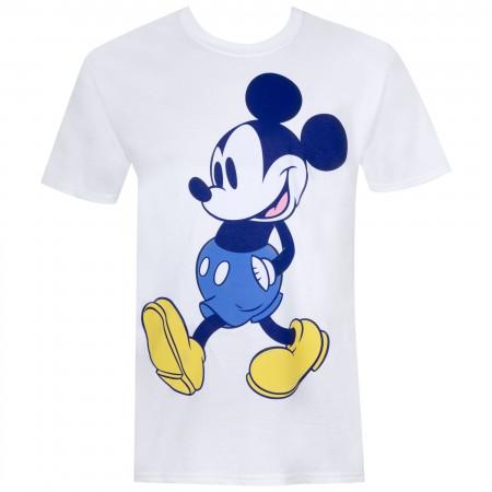 Mickey Mouse Men's White Blue Tone T-Shirt