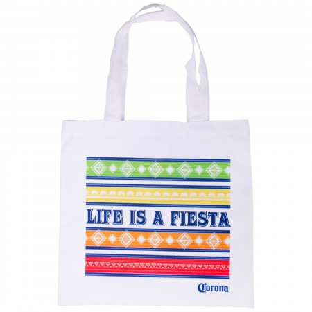 Corona Life Is a Fiesta White Beach Tote Bag