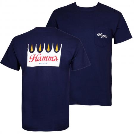 Hamm's Beer Logo Front And Back Print Men's Pocket T-Shirt