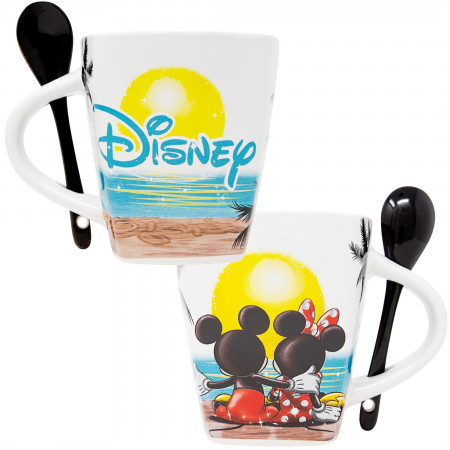 Mickey Mouse Sunset Disney Mug With Spoon