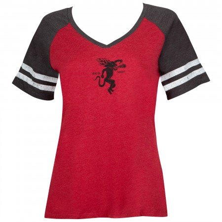 Fireball Red Ladies V-Neck Tee Shirt