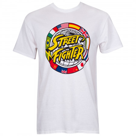 Street Fighter Circle Logo Men's White T-Shirt