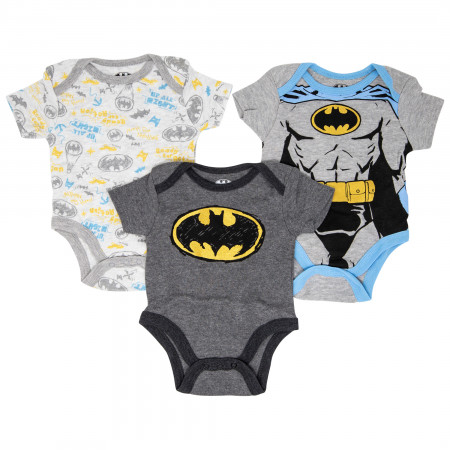 Batman Boys 3-Pack Infant Bodysuit Set
