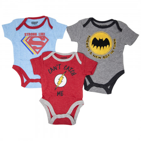 Justice League Boys 3-Pack Infant Bodysuit Set