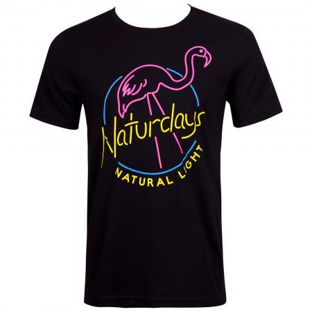 Naturdays Natural Light Beer Neon Flamingo Logo Men's Black T-Shirt