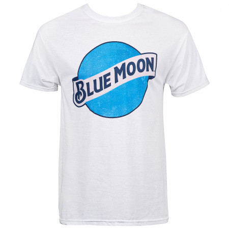 Blue Moon Beer Classic Logo Men's White T-Shirt