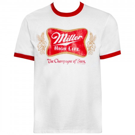 Miller High Life Logo White And Red Ringer Tee Shirt