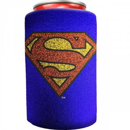 Superman Symbol Blue Metallic Finish Can Cooler