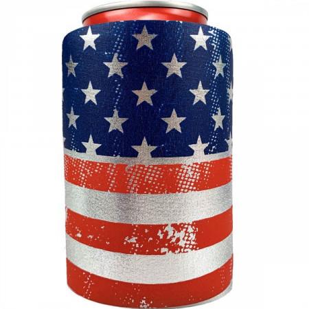 American Flag Metallic Finish Can Cooler