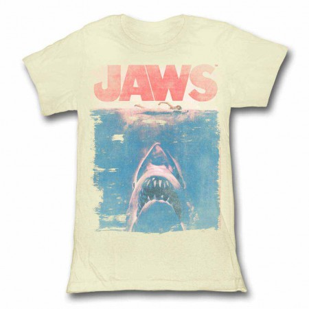 Jaws Fade Off White Juniors TShirt