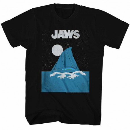 Jaws Jaws Boat Fin Black TShirt