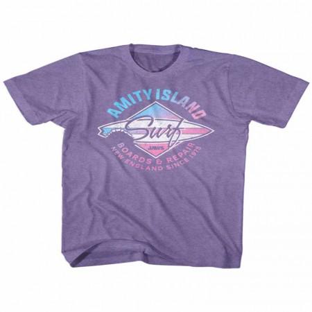 Jaws Amity Island Surf Purple TShirt