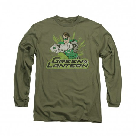Green Lantern Distress Rough Long Sleeve T-Shirt