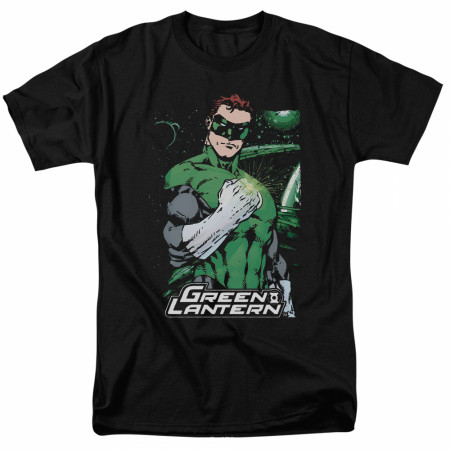 Green Lantern Fist Flare Men's Black T-Shirt
