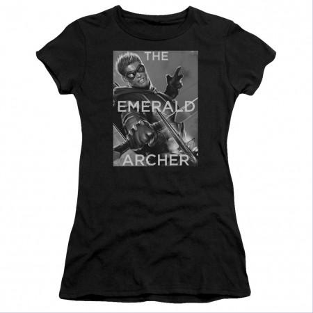 Green Arrow The Emerald Archer Black Juniors T-Shirt