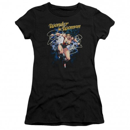 Wonder Woman Starburst Women's Black Tshirt