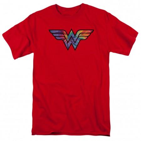 Wonder Woman Tie Dye Logo Men's Red T-Shirt