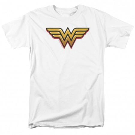 Wonder Woman Airbrushed Logo Men's White T-Shirt