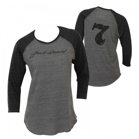 Jack Daniels Women's Grey 3/4 Sleeve Baseball Shirt
