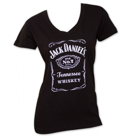 Jack Daniel's Old No. 7 Label Women's V-Neck Tshirt