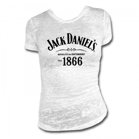 Jack Daniels Women's White 1866 Burnout T-Shirt