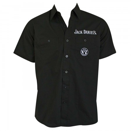 Jack Daniel's Short Sleeve Button Up Black Shirt