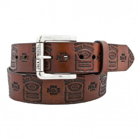 Jack Daniels Stamped Genuine Leather Brown Belt