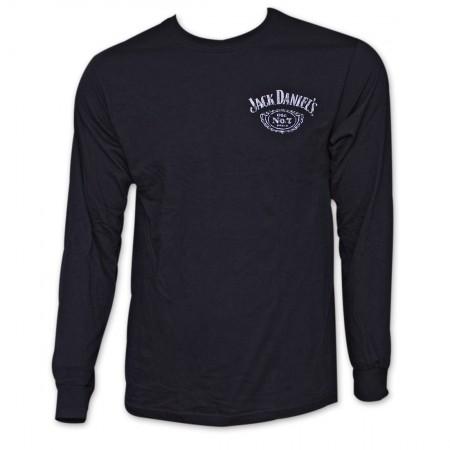 Jack Daniel's Classic Label Long Sleeve Black Graphic TShirt