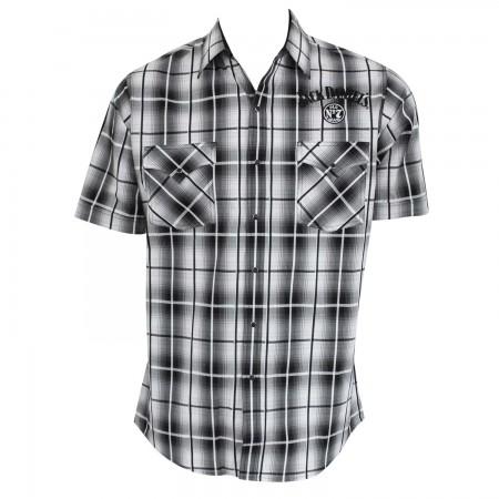 Jack Daniels Men's Black & White Plaid Button Down Shirt