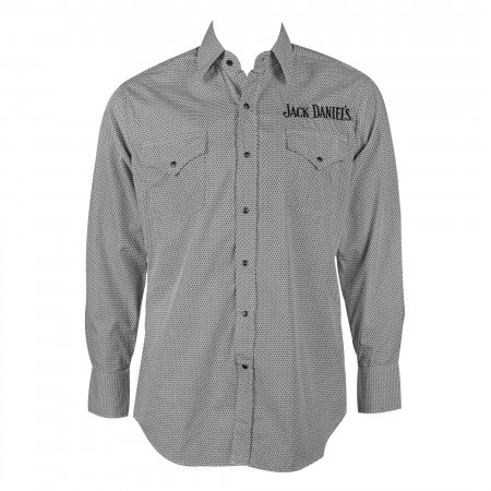 Jack Daniels Patterned Gray Long Sleeve Button Up Shirt