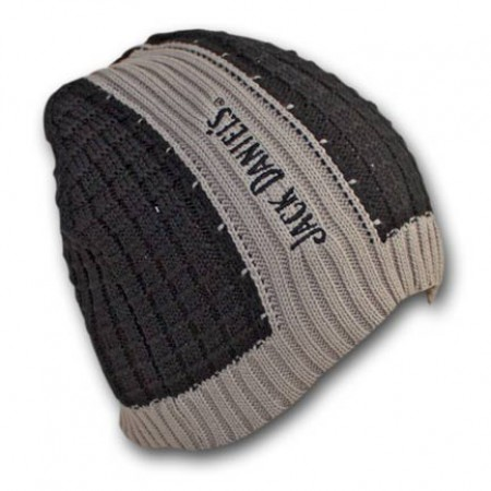 Jack Daniels Ribbed Black Gray Winter Knit Beanie Hat}