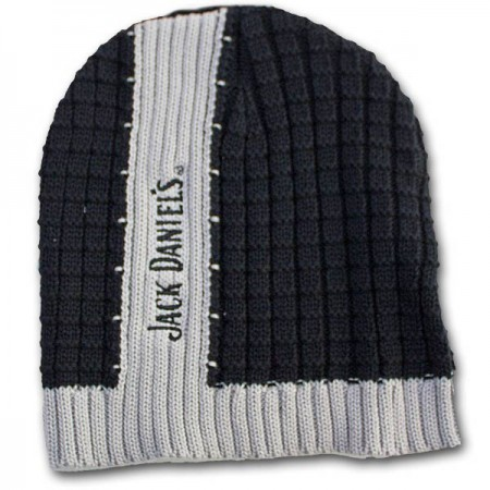 Jack Daniels Ribbed Black Gray Winter Knit Beanie Hat
