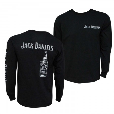 Jack Daniels Men's Black Bottle Print Long sleeve T-Shirt