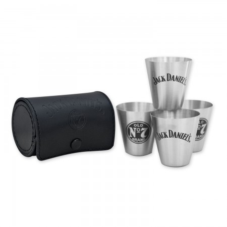 Jack Daniels Four Piece Shot Glass Travel Kit