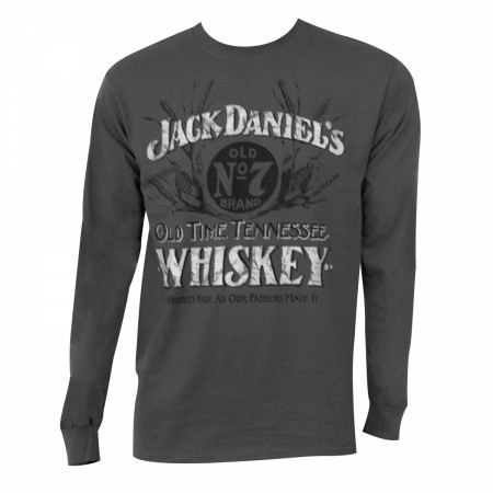 Jack Daniels Men's Grey Long Sleeve Whiskey Shirt