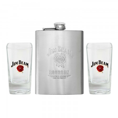Jim Beam Shot Glass And Flask Set