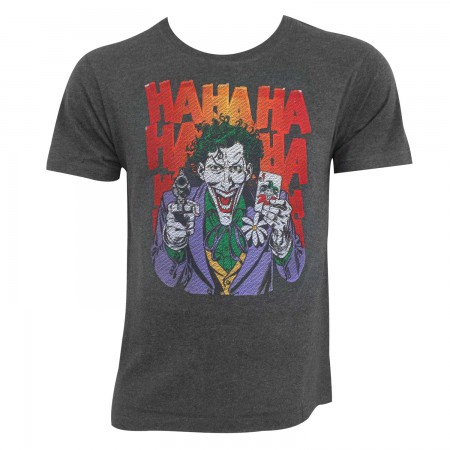 Joker Men's Charcoal Embroidered HAHAHA T-Shirt