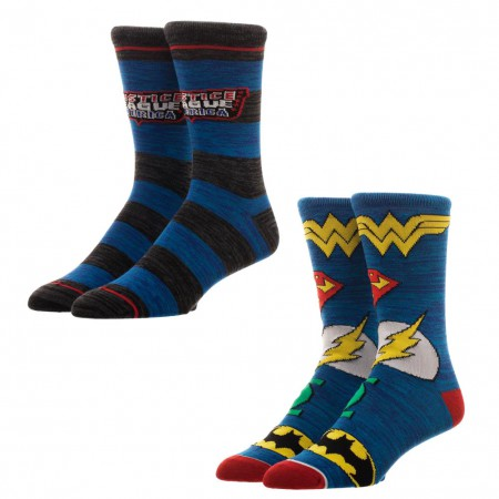 Justice League 2-Pack Blue Mens Crew Socks