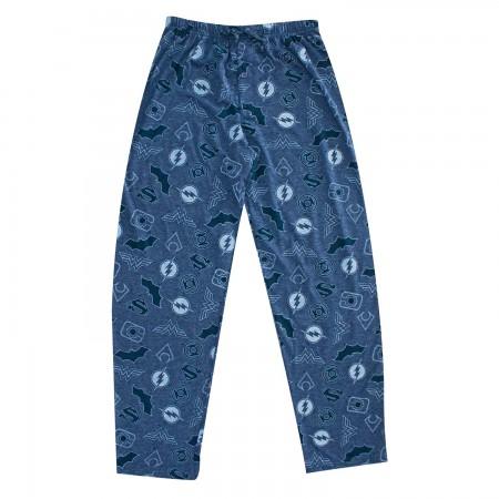 Justice League Superhero Logos Pajama Pants