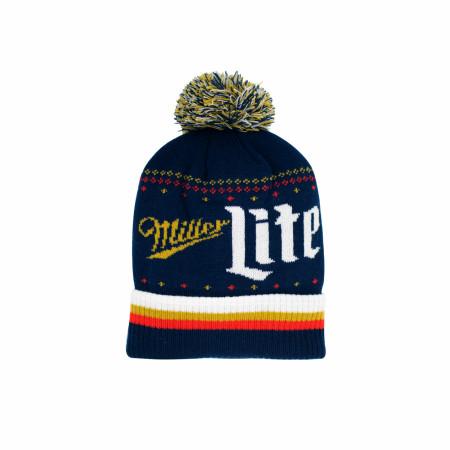 Miller Lite Label Text Knit Cuff Pom Beanie