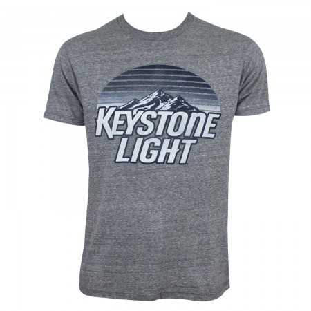 Keystone Light Men's Grey Striped Logo T-Shirt