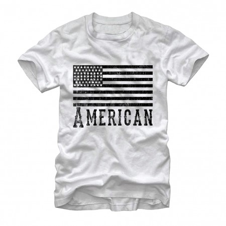 American Flag Monochrome Patriotic USA White T-Shirt