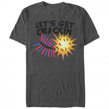 July 4th Let's Get Crackin American Patriotic USA Grey T-Shirt