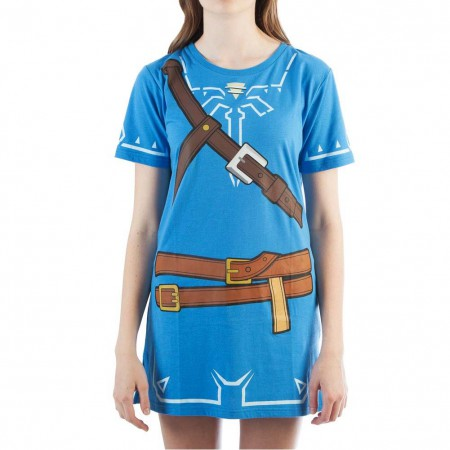 The Legend Of Zelda Women's Blue Breath Of The Wild Tunic Costume Dress
