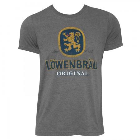Lowenbrau Logo Men's Grey T-Shirt